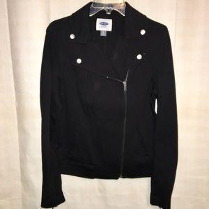 OLD NAVY diagonal zip black jacket